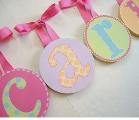 hand painted round wall letters - girls