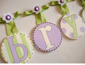 hand painted round wall letters - green lavender