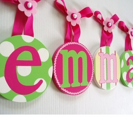 hand painted round wall letters - hot pink and green