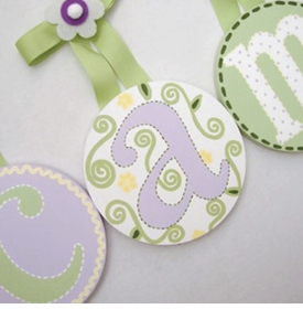 hand painted round wall letters - lavender green