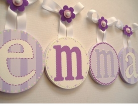 hand painted round wall letters - lavender splendor