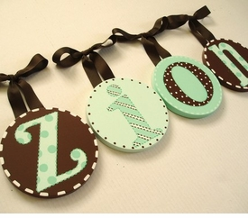 hand painted round wall letters - mint brown