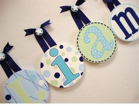 hand painted round wall letters - navy aqua
