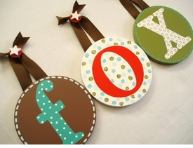 hand painted round wall letters - olive