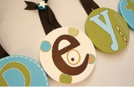 hand painted round wall letters - olive brown aqua