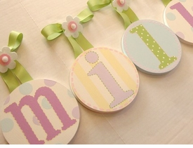 hand painted round wall letters - pastel