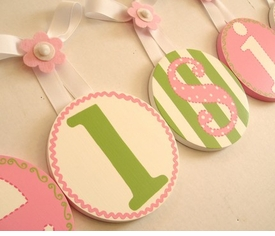 hand painted round wall letters - pink