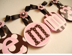 hand painted round wall letters - pink and brown