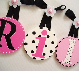 hand painted round wall letters - pink chic