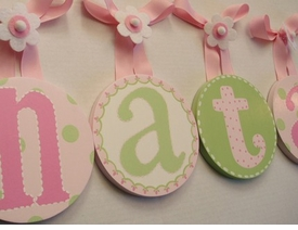 hand painted round wall letters - pink green