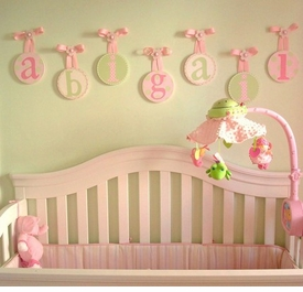 hand painted round wall letters - pink paradise
