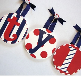hand painted round wall letters - red white & blue