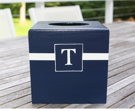 hand painted single initial tissue box holder