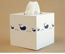 hand painted tissue box - whale