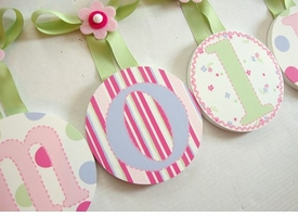 hand painted wall letters - candy stripe