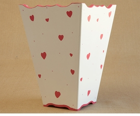 hand painted waste basket - hearts