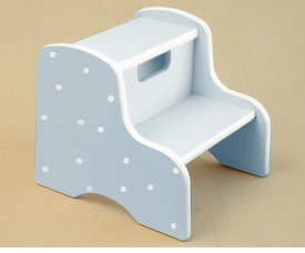 hand painted white dot step stool