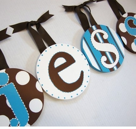 handpainted round wall letters - baby boy