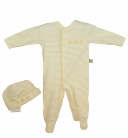 hat and romper set - yellow striped with ducks