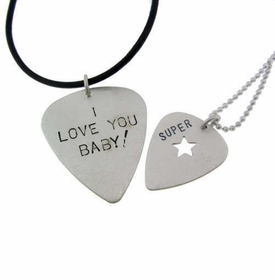 his and hers guitar pick necklace