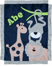 jungle safari baby blanket - beige lion with navy background