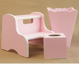 kids step stool, waste basket, frame and tissue box   - two color