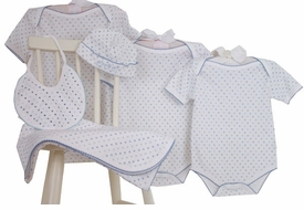 layette set - blue dots