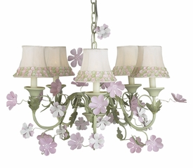 leaf and flower chandelier with flower border shades