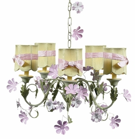 leaf and flower chandelier with scallop drum shades