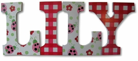 """lily's lovely ladybugs 8"""" wooden hanging letters"""