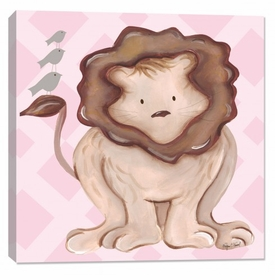 lion wall art - pink