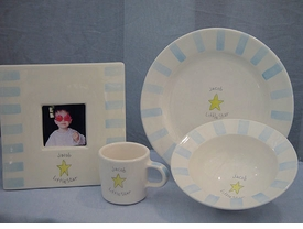little star stripe baby dish set