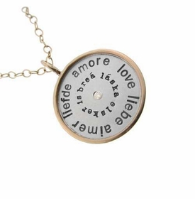 love charm necklace silver and gold