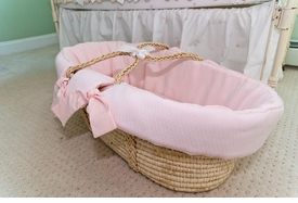 matelasse moses basket by sweet william - pink - currently unavailable