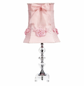 medium crystal lamp with pink floral bouquet shade