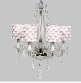 middleton chandelier - pink shades with white pom poms