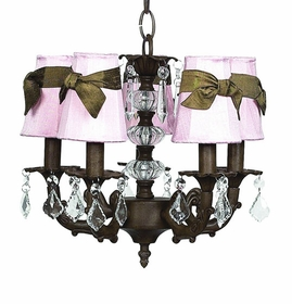 mocha stacked glass ball chandelier with pink shades