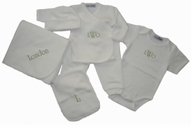 monogrammed baby layette set