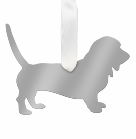 moon and lola bassett hound christmas ornament - silver