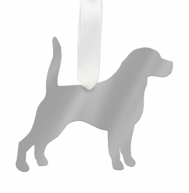 moon and lola beagle christmas ornament - silver