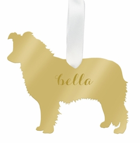 moon and lola border collie christmas ornament - gold