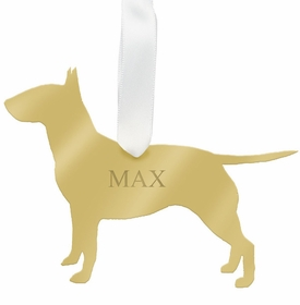 moon and lola bull terrier christmas ornament - gold