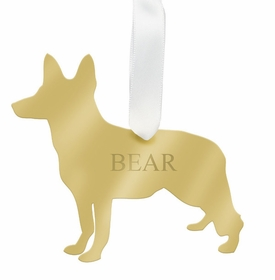 moon and lola german shepherd christmas ornament -gold