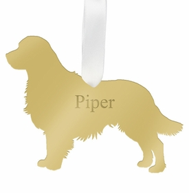 moon and lola golden retriever christmas ornament - gold