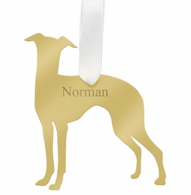 moon and lola greyhound christmas ornament - gold