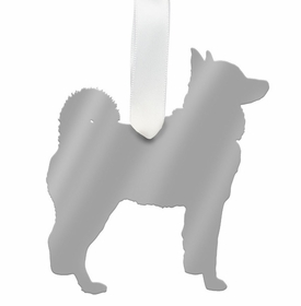moon and lola husky christmas ornament - silver
