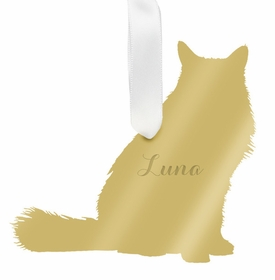 moon and lola long haired cat ornament - gold