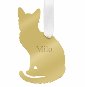moon and lola short haired cat christmas ornament - gold