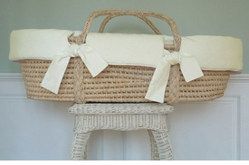 moses basket with yellow matelasse - currently unavailable