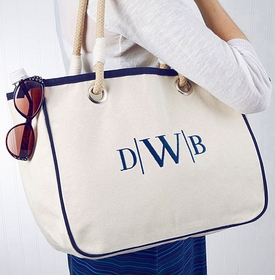 navy accented rope tote